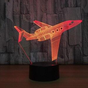 Image 4 - Lámpara de mesa LED 3D con Control remoto para avión de aire lámpara de ambiente de 7 cambios de color con batería de 3AA y USB