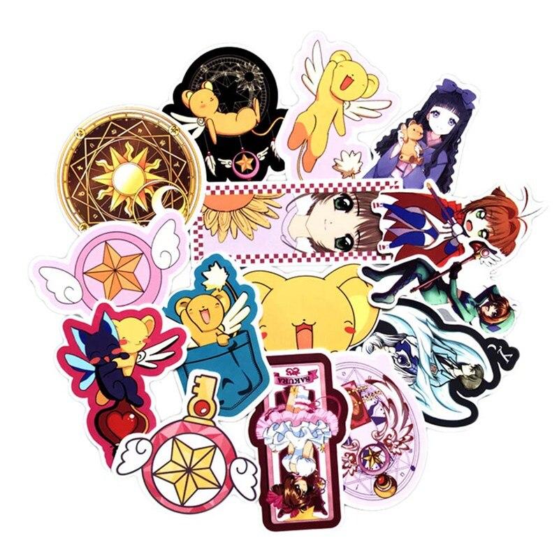 15 Sheets/set Von Anime Magie Karte Mädchen Sakura Koffer Skateboard Computer Aufkleber