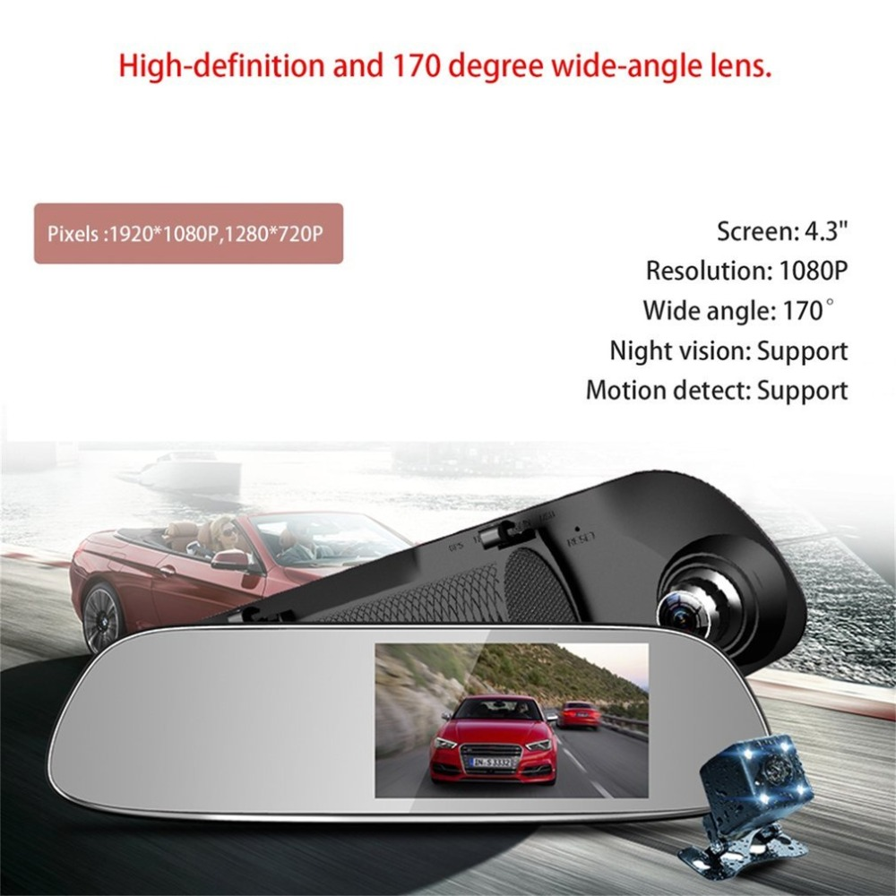 4.3 inch Full HD Tachograph 1080P Car Rearview Parking Mirror Dash Cam Wide Angle Night Vision Camera Car Recorder G-sensor USB