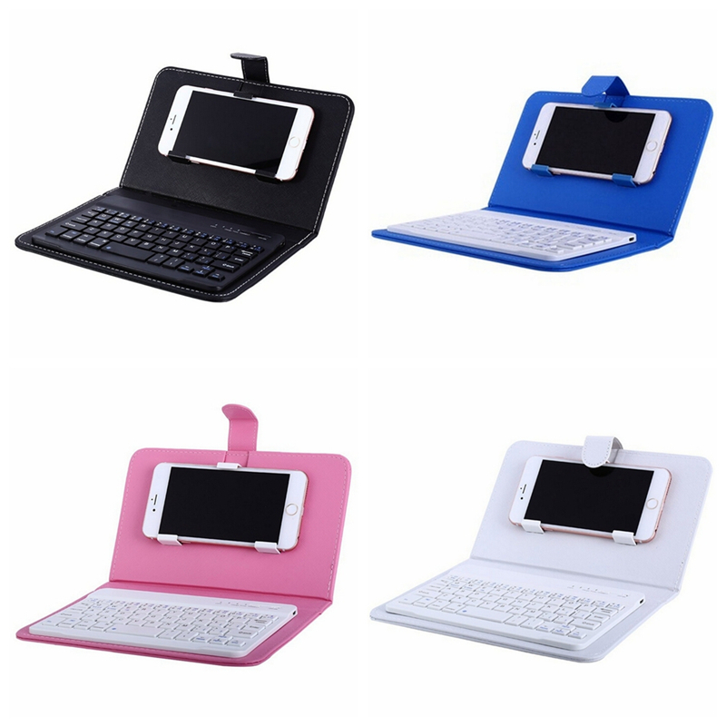 Image 3 - Portable PU Leather Wireless Keyboard Case for iPhone Protective Mobile Phone with Bluetooth Keyboard For IPhone 6 7 Smartphone-in Keyboards from Computer & Office