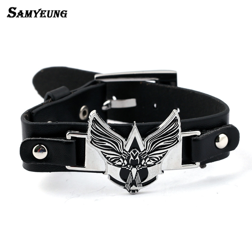 Samyeung Trendy Assassins Creed Bracelets Male Handmade Leather Creed Eagle Bracelet Male Pulseras Hombre Braslet Men Jewelry