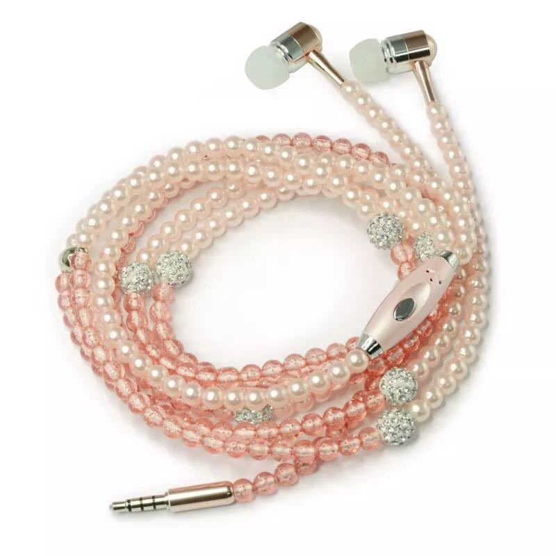 Fashionable Jewelry pearl Necklace Earphones with Mic Beads 3.5mm In-ear Headphone Connect to SmartPhone All 3.5mm Audio Devices 2pcs 3 5mm in ear earphones headphone with mic