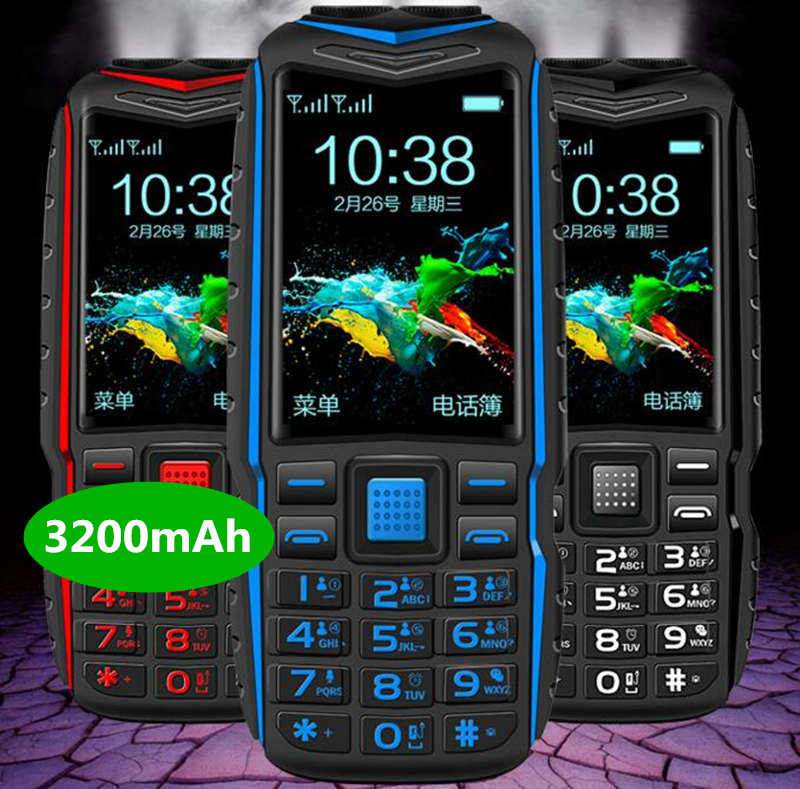 Two Flashlight FM Long Standby Celular Power Bank Rugged Outdoor Telephone Shockproof Dual SIM Big Voice Cell Phone Russian