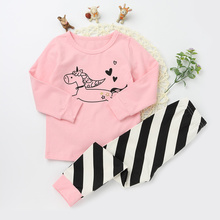 Fashion Children's Clothing Sets Boys Cotton Sleepwear Girls Pajama Tops and Bottoms Kids Clothes Long sleeve T-shirts Trousers