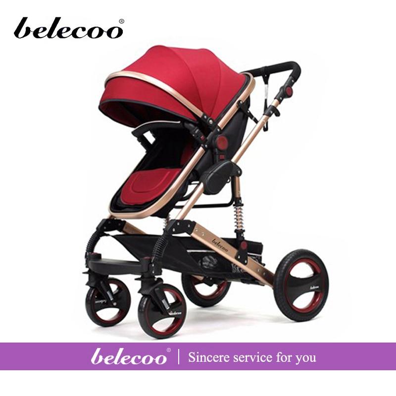 2016 New design Luxury upgraded baby stroller portable lightweight high landscape baby stroller can sit and lying kinderwagen shoulder bag