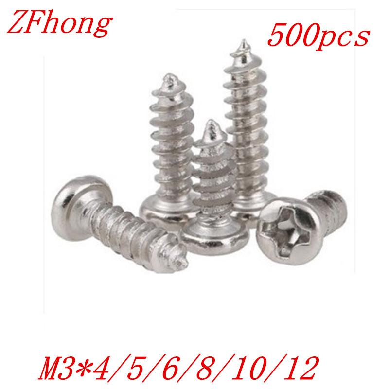 500PCS M3*5/6/8/10/12/14/16  3mm nickel plated micro electronic screw cross recessed phillips round pan head self tapping screw 6 10 mm brass nickel plated m20 1 5 mm electric cable gland waterproof x 10