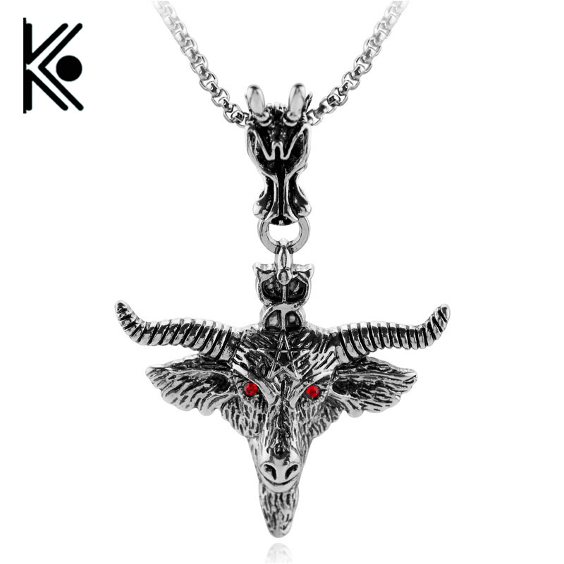 wholesale price Fashion tauren Goat Pan Skull Head Pendant Necklaces Demon Satanism Vintage Star Statement Necklace Jewelry