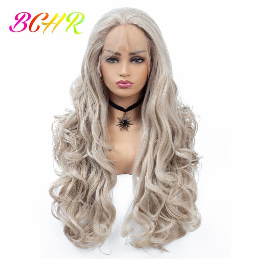 BCHR longue ondulée fait à la main synthétique dentelle avant perruques Ombre perruque argent gris couleur dentelle perruque Kanekalon cheveux livraison gratuite