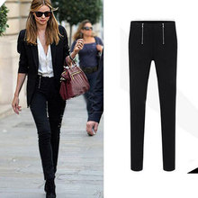 Autumn Spring Nice New Style Zipper Denim Slim Skinny Womens Jeans Pencil Pants High Elastic Capris Black Casual Leggings WF2685