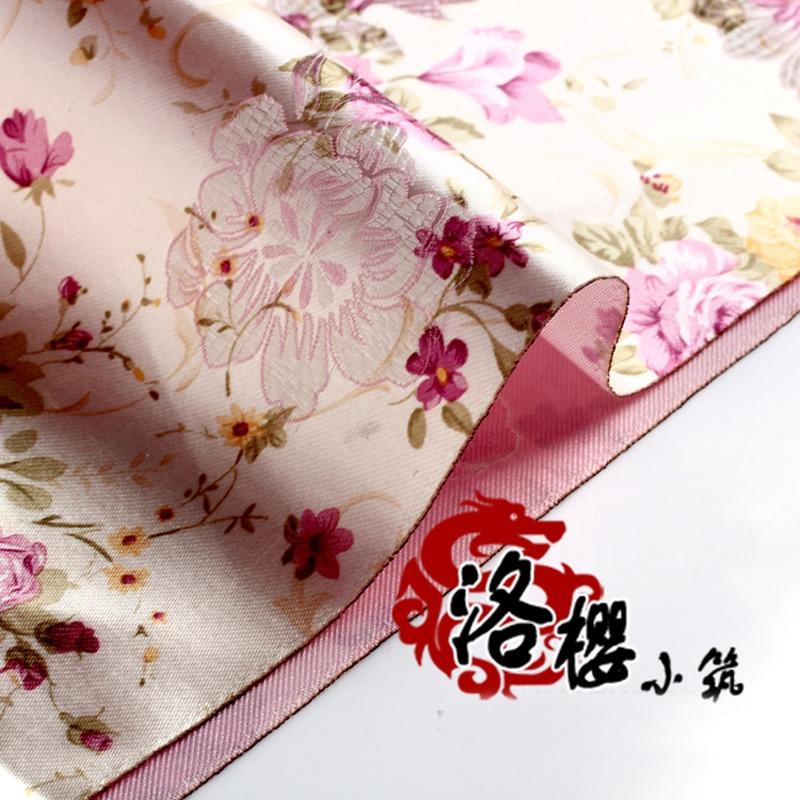 hanfu baby Kostým hedvábí, protože oblečení tkané damašku žakárové brokátové tkaniny nový příchod růžová pivoňka bílá