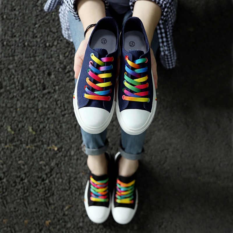 ผู้หญิงสบายๆรองเท้าฤดูใบไม้ผลิและฤดูร้อนลูกไม้ผ้าใบรองเท้าหญิง Breathable รองเท้าผ้าใบตะกร้า Tenis Feminino