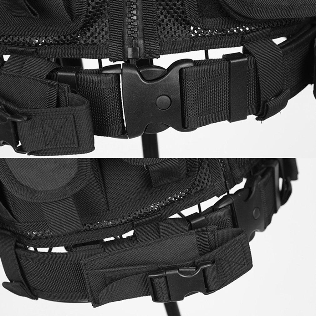 Belt Protect Multi Pockets Multi-Functional Combat Vest Mesh Breathable Black Tactical Vest Field Operations Equipment