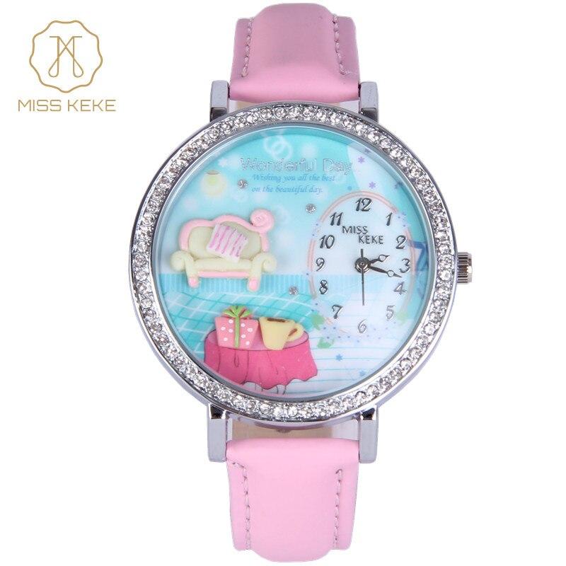 relojes mujer MISS KEKE clay cute 3D mini world clock Rhinestone watches Relogio Feminino Ladies Women leather Wristwatches 907 relojes relogio feminino tonsee666666