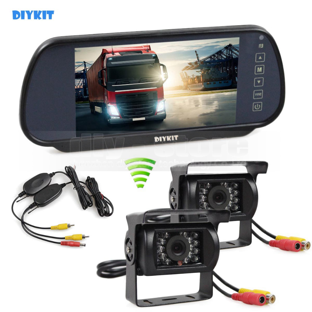 DIYKIT Wireless 7inch HD Mirror Monitor Car Monitor Waterproof CCD Rear View Car Camera for Truck Caravan Bus Van 1V2 diykit wired 12v 24v dc 9 car monitor rear view kit backup waterproof ccd camera system kit for bus horse trailer motorhome