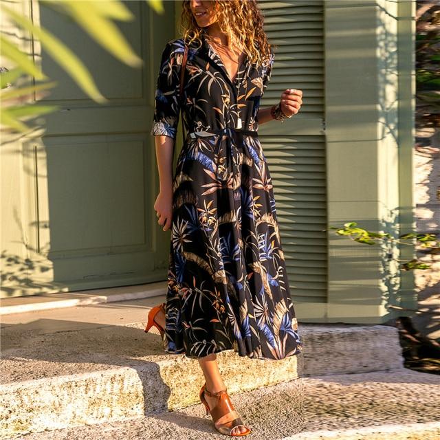 long casual dress long-sleeve button down 4