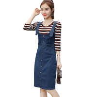 092c624a982 Korean Style 2018 Summer Denim Dress Women Slim Sexy Washed Suspender Single  Breasted Sundress Plus Size