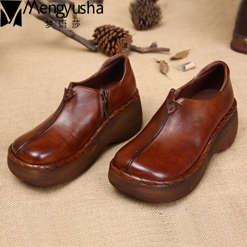 Nuevo otoño mujer holgazanes señora alta calidad Retro Vintage Zip cerrado mujeres zapatos de cuero genuino plataforma zapatos casuales para mujer