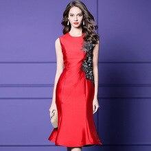 Women dress Slim spring Autumn dress embroidery sleeveless O-Neck Trumpet / Mermaid Dresses Woman ZZ18371