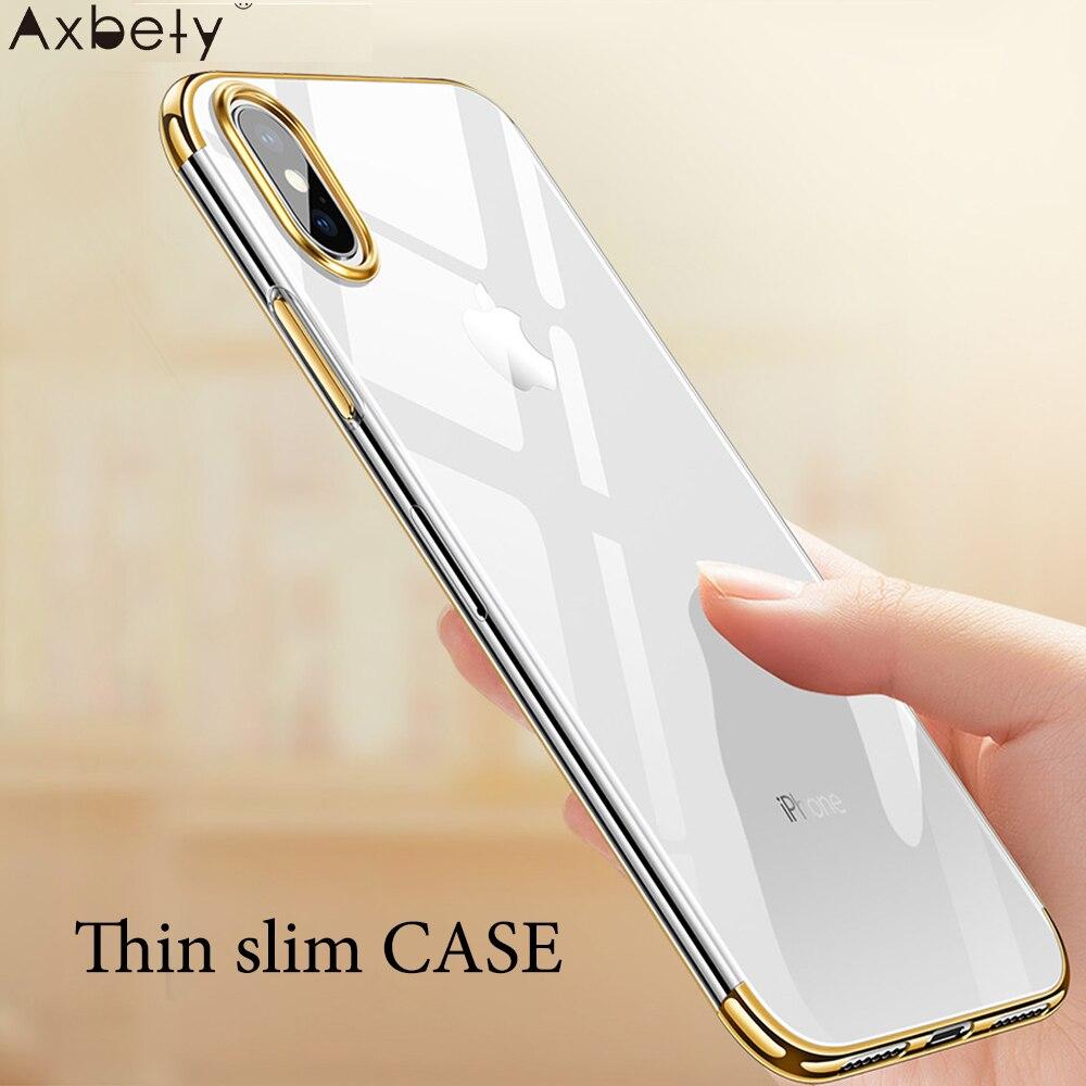 Axbety para iphone xs max/xr luxo cristal claro casos coque para iphone xs ultra fino macio transparente brilhante cromado ouro capa