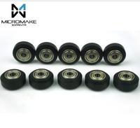 Micromake 3D Printer Parts 10pcs High tolerance CNC Solid V Wheel Kit for V slot Delrin Precise POM V slot Wheel