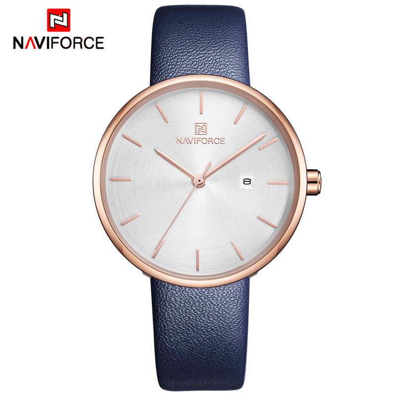 NAVIFORCE Women Watches Top Luxury Brand Fashion Casual Ladies Waterproof Quartz Watch Leather Dress Girl Clock Relogio Feminino