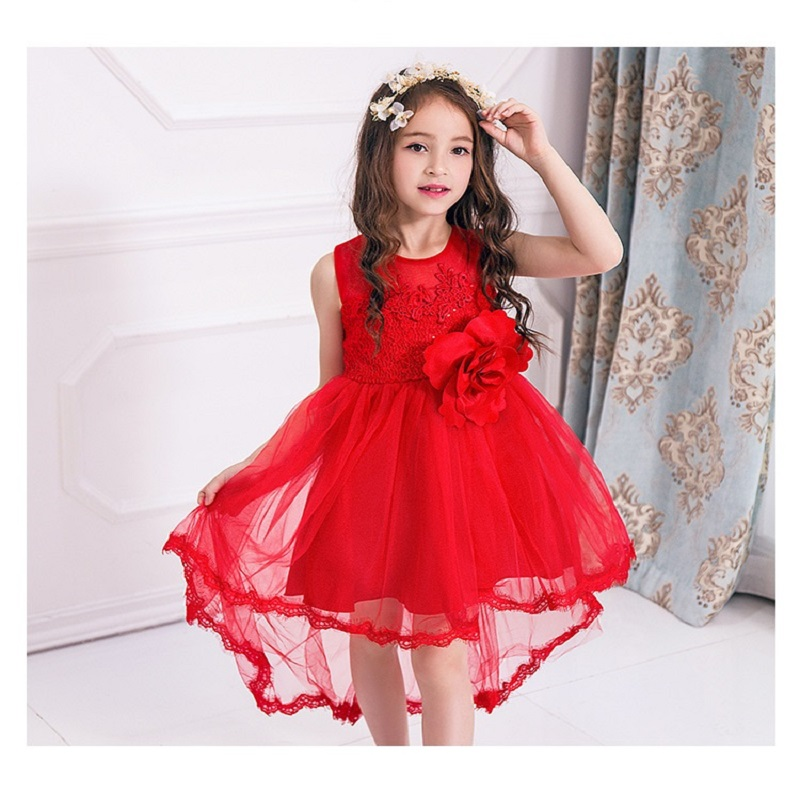 New Christmas Red Big Flower Girl Dress Wedding Birthday Party Kids Clothes Summer Princess Dresses 3-12 Yrs New Year Clothes kids flower girl dress for party and wedding dresses girls sleeveless princess dress 2018 new summer 3 14 yrs children clothes