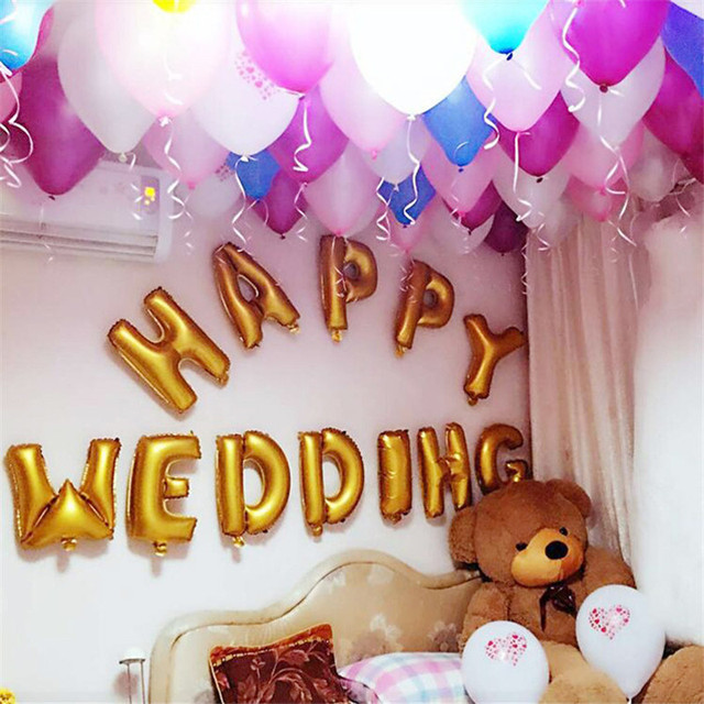 12pcs 5 Color Letter Wedding Anniversary Birthday Party Foil Balloons  Valentineu0027S Love Day Party Room Decoration