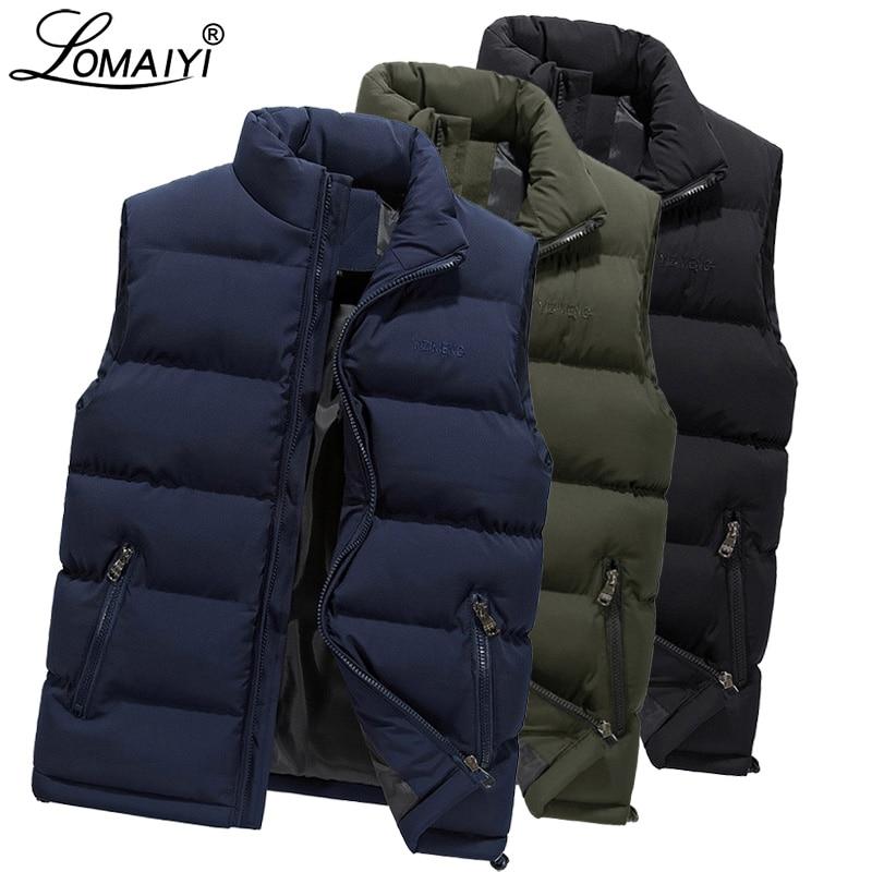LOMAIYI M-6XL Men's Winter Vest Men Warm Thick Padded Vest Coat Male Sleeveless Jacket Mens Blue/Black Casual Down Vests BM255