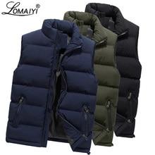 LOMAIYI M 6XL الرجال الشتاء سترة الرجال الدافئة سميكة سترة مُطرزة معطف الذكور جاكيت بلا إكمام رجل الأزرق/الأسود سترات عادية أسفل BM255