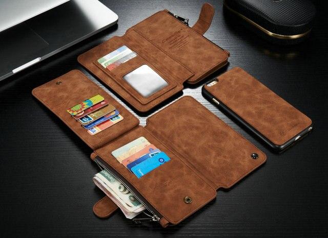 Caseme multifuncional 14 tarjetas de titular caja de la carpeta para el iPhone 6 Plus / 6 S más, Retro caja de la carpeta para el iPhone 6 G 6 S cubierta de cuero