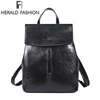HERALD FASHION Genuine Leather Backpack Vintage Cow Split Leather Women Backpack Ladies Shoulder Bag School Bag