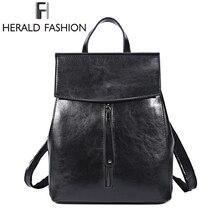 HEROLD FASHION Echtes Leder Rucksack Vintage Rindspaltleder Frauen Rucksack Damen Umhängetasche Schultasche für Teenager Mädchen