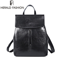 HERALD FASHION Genuine Leather Backpack Vintage Cow Split Leather Women Backpack Ladies Shoulder Bag School Bag