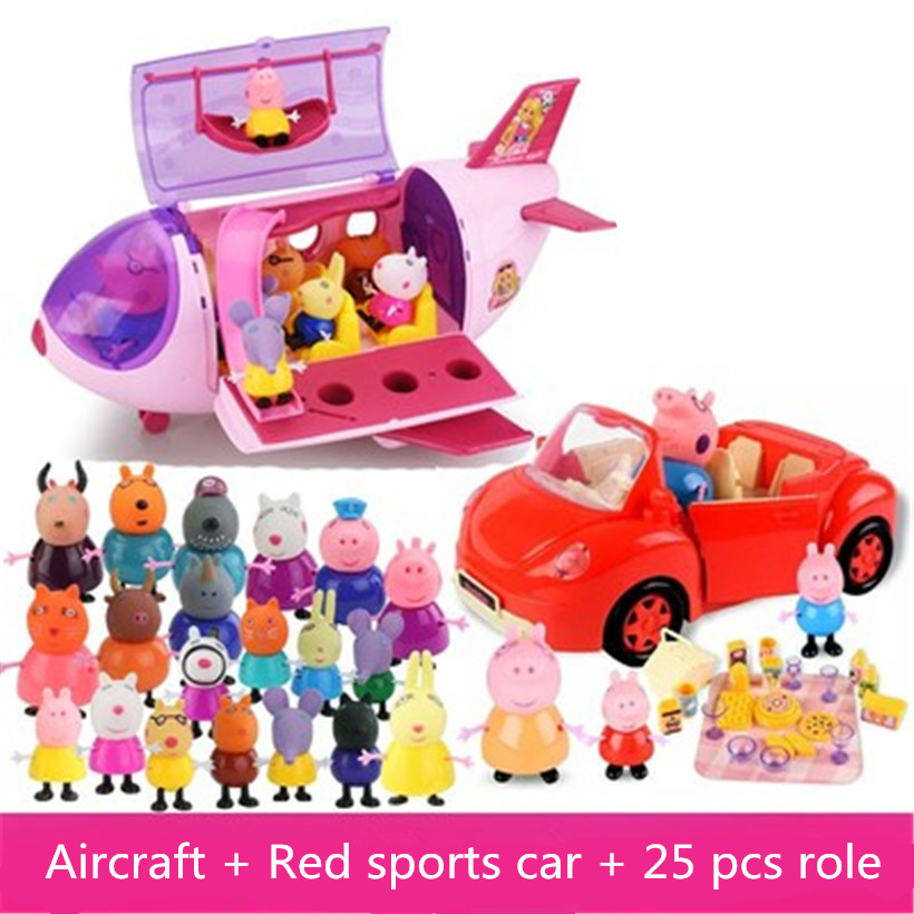 Fashion Peppa Pig Aircraft Sports Car Family Full Roles Action Figure Model For Children
