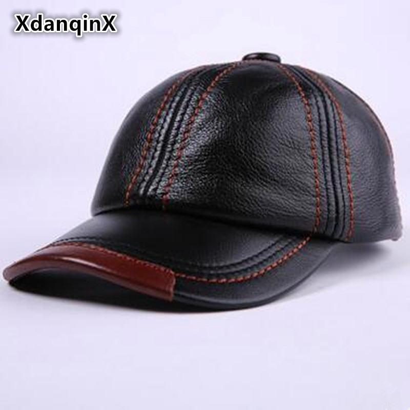 XdanqinX Autumn Winter Men's Leather Cap Thicken Warm Earmuffs Baseball Caps For adult Men Adjustable Size Peaked Cap Dad's Hats winter genuine leather baseball caps men golf peaked dome hats male adjustable ear warm casquette leisure peaked cap b 7209