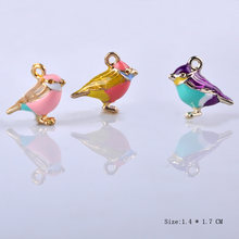 10pcs 14x17mm Japan Fashion Enamel 3D bird charms, metal magpie swallow birdie pendants dangle for earrings jewelry making diy(China)