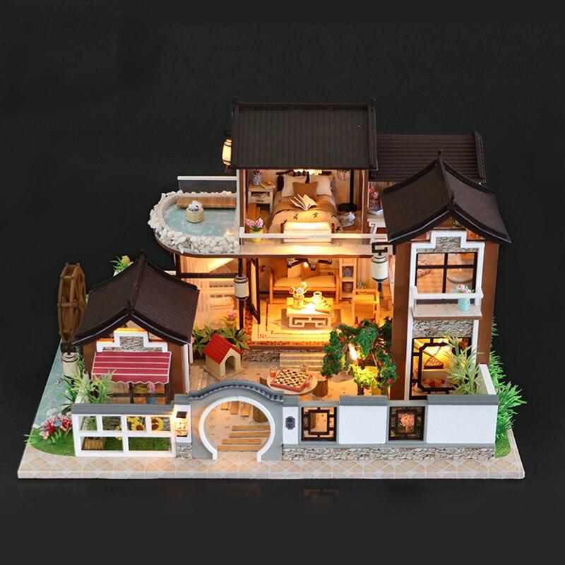 DIY кукольный домик Миниатюрный Кукольный дом с мебелью винтажные строительные наборы 3D дом для кукол игрушки для детей подарок на день рожд...