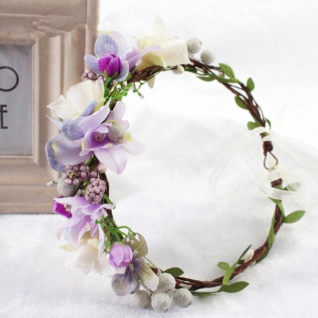 2018 Bride Wedding Flower Headband Wreath Hairband Party Flower Girl Hair  Accessories Flower Crown garland Flower Headpiece b56ae1dac6b