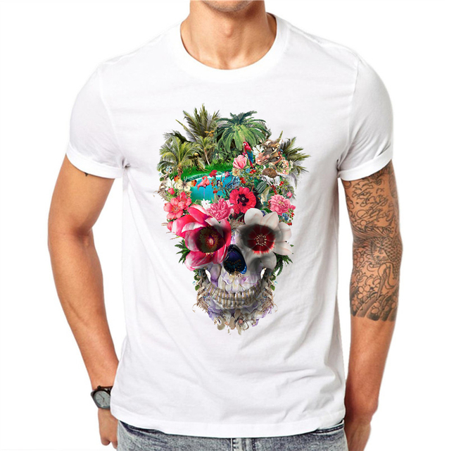 3bf310a50 100% Cotton Flower Skull Printed T Shirts Men Fashion Animal Forest Design  Short Sleeve Floral Tops Cool T-Shirt Casual Tee
