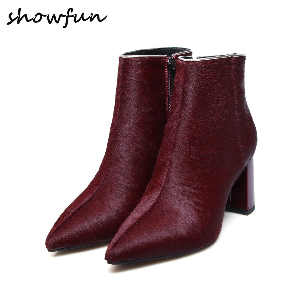 Womens Winter Horse Hair Pointed Toe Ankle Boots Brand Designer Thick High Heel Comfortable Short Booties Pplus Size Shoes Sale
