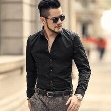 Французский кнопка манжеты Для мужчин рубашки Новая весна Люкс Slim Fit с длинным рукавом Для мужчин Марка Формальные Бизнес модные рубашки Homme s1013