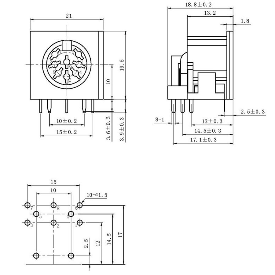 1pcs Ds 8p Female Jack Connector With Singal Terminals Ps2 8pin Power Schematic Right Angle Dc Panel Mount Solder Chassis Adapter In Connectors From Lights