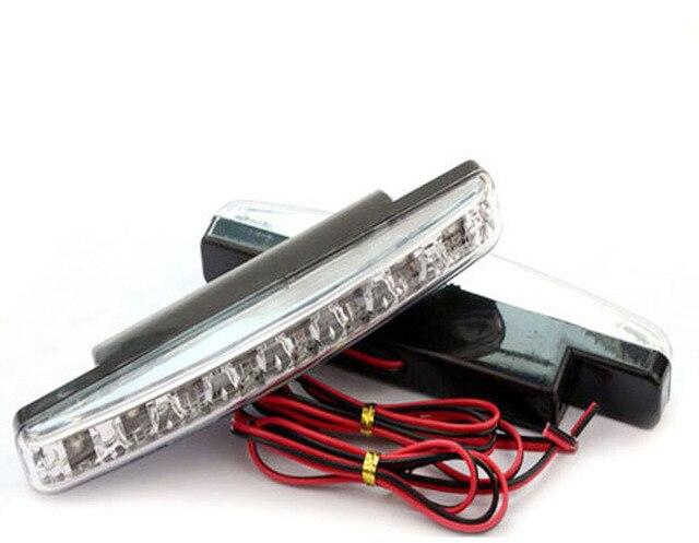12V DRL Super Bright White 8W 6500K COB LED Universal Waterproof  Driving Daytime Running Lightslamp 0.12kg 15.5cm 1 pair