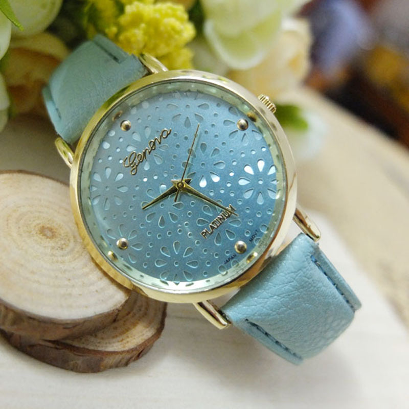Luxury Brand Women Watch NEW Geneva Flower Relojes Faux Leather Analog Quartz Watch Relogio Feminino Gift Free Shipping mance new fashion brand women s watches luxury geneva faux leather analog quartz wrist watch relogio feminino quality gift