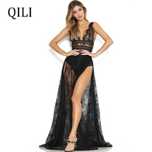 QILI Boho Women Dress Sexy Lace Tank Sleeve High Split Long Maxi Dresses Evening Party Club Black And Wine-Red Blue