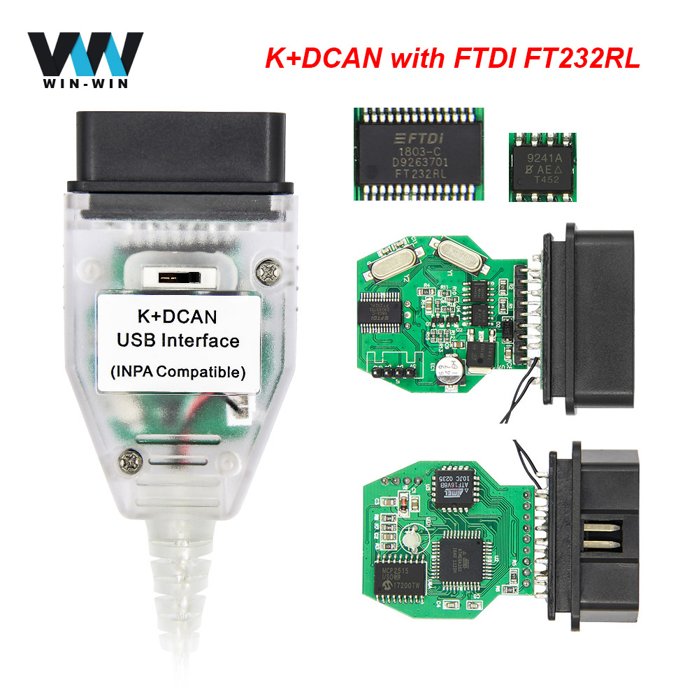 Ferramenta de diagnóstico automotivo para bmw, inpa k + dcan switch com ftdi chip obd obd2 cabo do scanner k-line interface usb