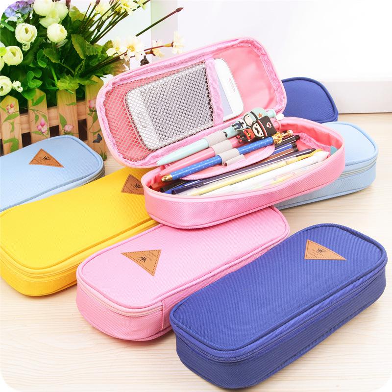 Candy Color Pencil Case Big Capacity Canvas Pen Bag Stationery Estojo Escolar School Supplies