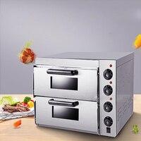 1pc gedun-kx1 3000w 220v duplo forno de pizza elétrica com temporizador para uso comercial para fazer pão  bolo  pizza