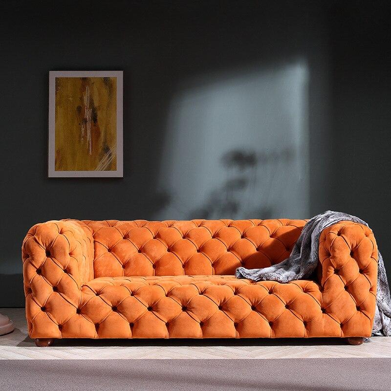 Light Luxury Postmodern Pull Point Leather Sofa Matt Velvet Pull Buckle Three-seat Sofa