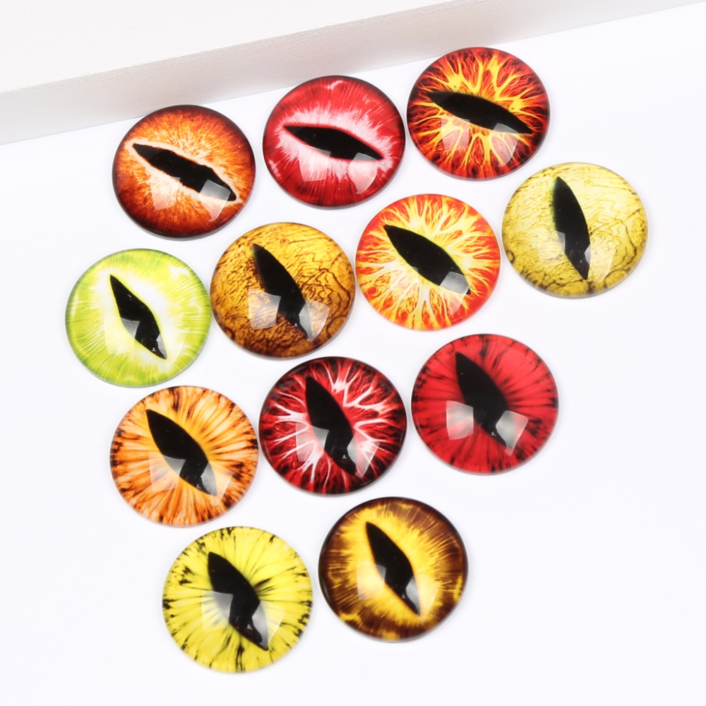 reidgaller mixed round yellow eyes photo glass cabochon 12mm 16mm 20mm 25mm diy jewelry components ...